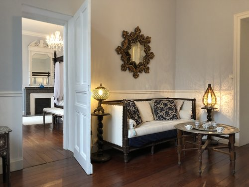 Chateau Thuries Master salon through to bedroom